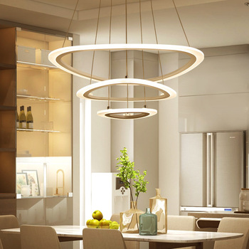 Led Light Creative Ring Modern Minimalist Living Room Dining Room Lamp Smart Dimming Bedroom Art  Pendant Lights