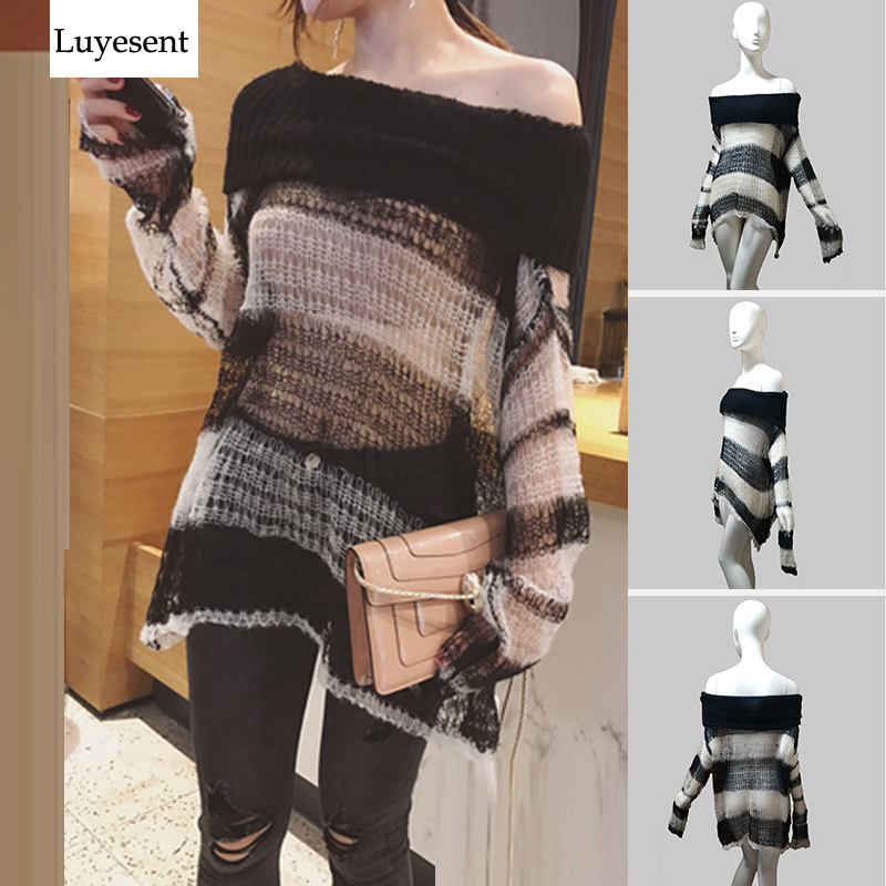 Punk Loose Women Pullover Long Sweater Gothic Thin Striped Hollow Out 2020 Lady Transparent Hole Cool Top Slash Neck Jumpers New