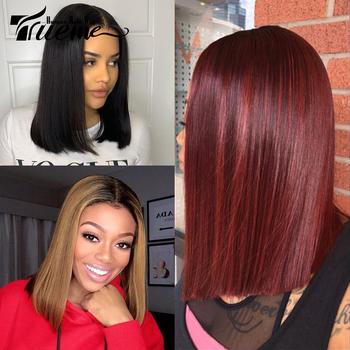 Trueme 14 Inch Middle Part Bob Lace Wig Brazilian Remy Straight Human Hair Ombre 1B/99J 1B/27 1B/30 Lace Front Wigs For Women yuanhairbo 6a 12 28 1b yhb 14 k 031006
