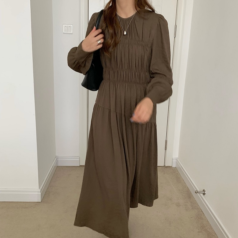 He07072fc0d0a4e998bbc8eb59bd94c370 - Autumn Korean O-Neck Long Sleeves Minimalist Solid Midi Dress