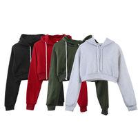 Heißer Verkauf Frauen Fashion Solid Farbe Hoodies Crop T-Shirts Weibliche Beiläufige Lange Hülse Jumper Mit Kapuze Pullover Tops Outfits 4 Farben
