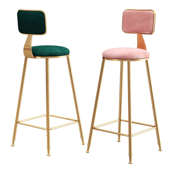 Nordic Light Luxury Ins Simple Net Red Bar Chair Stool    Front Desk Restaurant Leisure Back High Foot