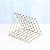 Nordic triangle simple wrought iron desktop storage rack shelf file magazine storage box office rack jewelry|  -