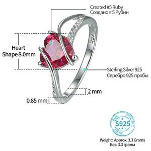 Image 2 - A Forma di cuore Rubino 925 Sterling Silver Anello di 2.5 Carati Donne Anello di Amore per il Partito di Fidanzamento e di Nozze Regalo Romantico