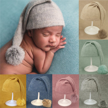 Newborn Photography Props Knit Fur Ball Newborn  Hat Baby Photo Studio Photography Props Cap  Beanie Baby  Hat yundfly knit baby hat newborn photography props candy color flower beanie cap baby fotografia hair accessories