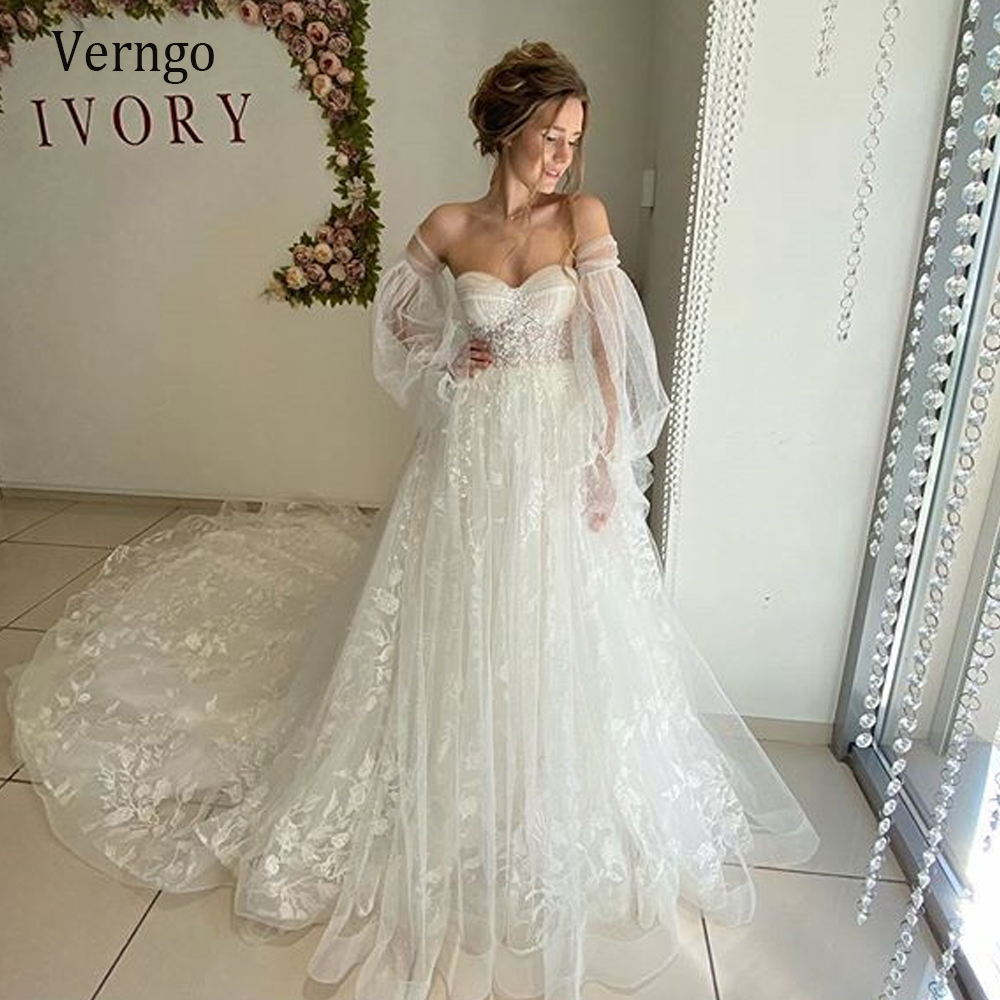 Verngo Exquisite Lace Floral Puff Sleeve Wedding Dress 20 Sweetheart Long  Train Bride Gowns Corset Back Bridal Dress Plus Size