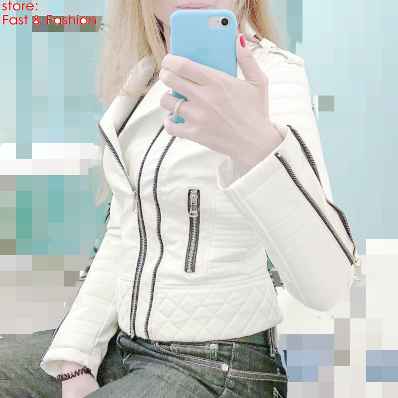 2019 New Fashion Women Soft Faux   Leather   PU Jackets and Coats Lady Motorcyle Zippers Biker Black White Spliced Street Outerwear