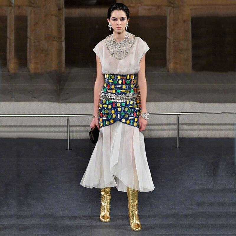 Or cuir cristal bloc talon bottes genou haute amande orteil rue Style robe de mode tenue bottes hiver printemps chaussures dames - 5