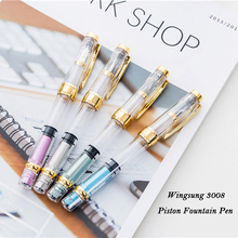 Wing Sung 3008 Transparent Piston Wingsung Fountain Pen with Gold / Silver Clip Fashion Colorful Ink Pens for Student Office 2017 new arrivel wingsung 9159 fashion transparent white fountain pen with 0 5mm f nib high quality plastic ink pens for gift