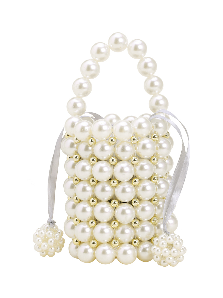 Caker Brand 2019 Women Pearl Beaded Drawstring Handbag High Quality Summer Beach Bag in Shoulder Bags from Luggage Bags