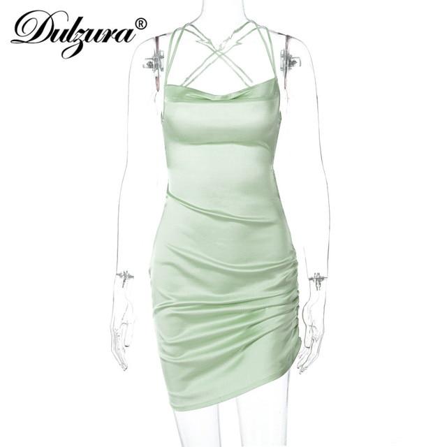 Dulzura Satin Women Strap Mini Dress Ruched Lace Up Cross Bandage Backless Bodycon Sexy Party Elegant 2020 Club Christmas Slim 6