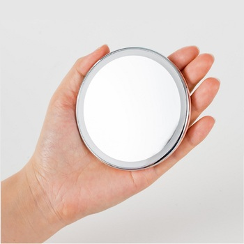 Jordan&Judy 1pc Mini Makeup Mirrors Portable Folding Cosmetic Tools With LED Magnification Round Mirror For Travel Bathroom Gift 3