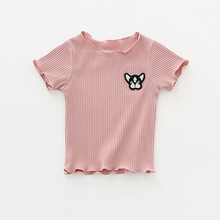 Carton Baby Girl T-shirt Solid Pink White Yellow Top Short Sleeve Shirt Cute Embroidery Pattern Wavy Edg T
