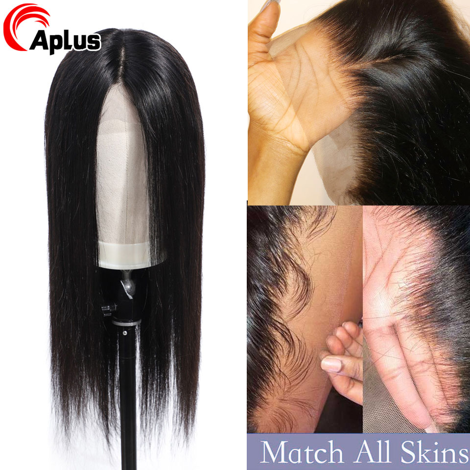 Transparent Lace Front Human Hair Wigs Straight Wig 13x4 Brazilian Remy Hair Natural Hairline PrePlucked Lace Wig With Baby Hair