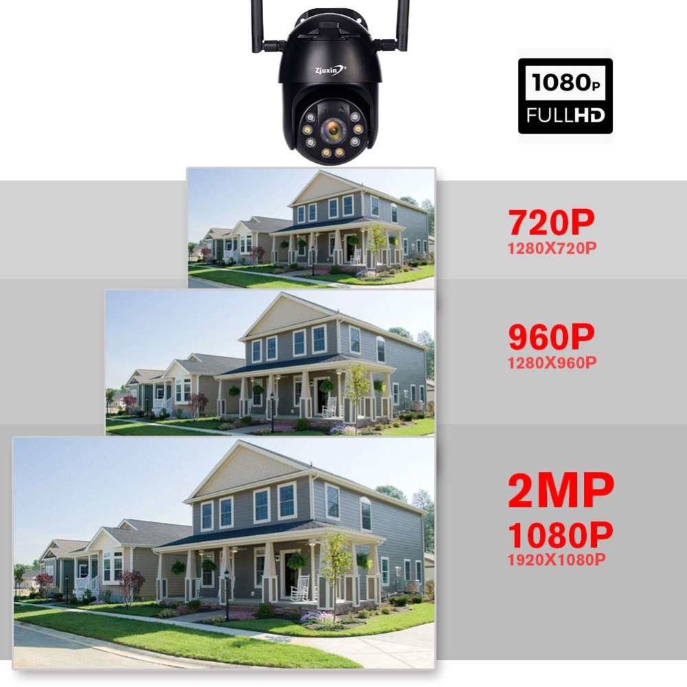 He071522bbd184f7fbbc1714c52673eb0Q Zjuxin PTZ IP Camera WiFi HD1080P Wireless Wired PTZ Outdoor CCTV Security Camra Double light human detection AI cloud camera