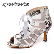 New Featured print Dance Shoes For Women Latin Salsa Boots Transparent Party Ballroom Heels Sandals 9CM with Mesh
