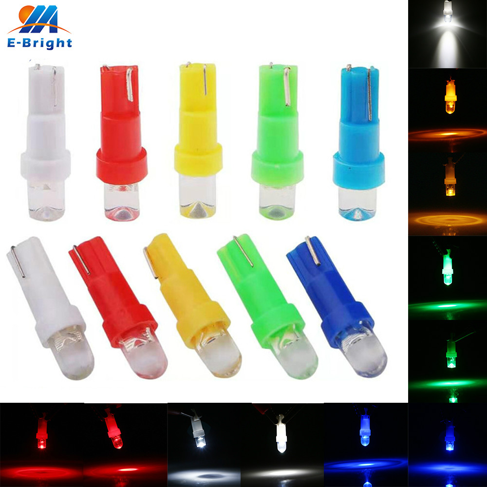 10x T5 LED 1 SMD Interior Lights Dashboard Car Bulbs Mini Wedge Concave Lens 12V Automobiles Dash Lamp Free Shipping