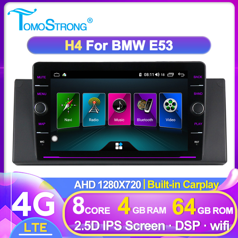 TOMOSTRONG 8'' Android 4G LTE Car dvd player For <font><b>BMW</b></font> E53 <font><b>E39</b></font> X5 Quad core Auto radio Car Multimedia Stereo with DSP WIFI BT SWC image