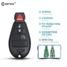 Keyyou 3 + 1 botão remoto inteligente carro chave fob keyless para chrysler town & country para dodge 300 challenger carregador durango viagem