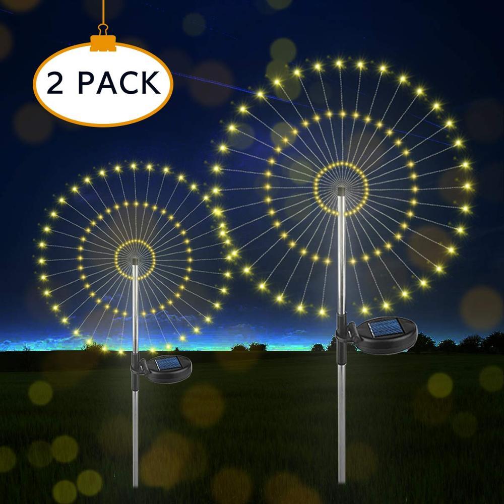 Quick Shipping Solar Powered Starburst 105 Fairy LED Fireworks Lighting LEDS Dandelion Outdoor Garden String Light