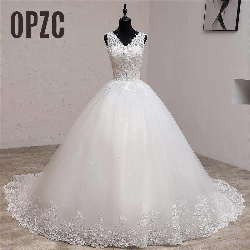 Lace Embroidery 2020 Spring Africa Style  Wedding Dress Long Train Sweet Elegant Plus Size Vestido De Noiva Bride V Neck 7