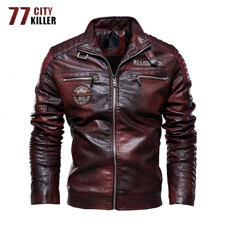 New Faux Leather Jacket Men Autumn Winter Fleece Warm Motorcycle PU Jacket Male Outwear Windbreaker Coats Chaqueta Cuero Hombre