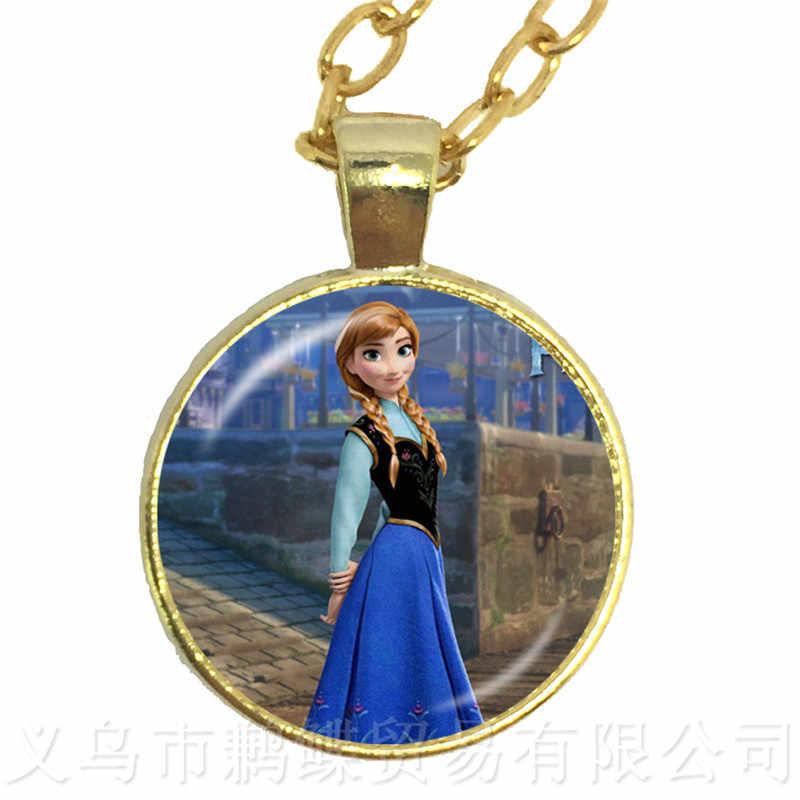 2018 nowych moda damska 60 + 5cm długości-naszyjniki biżuteria szkło Cabochon Princess Anna królowa śniegu wisiorek naszyjnik dziewczyna