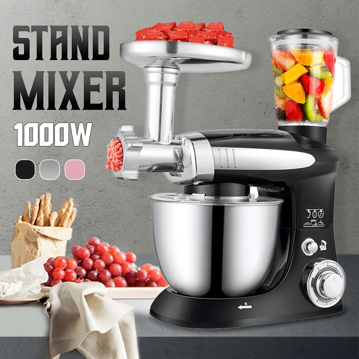Electric Kitchen Flour Pizza Dough Stand Mixer Food Processor Egg Beater Baking Tools with Fruit Juicer Bowl Cover hook whisk