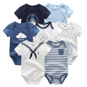 Image 4 - Vêtements dété pour bébés filles, 7 pièces/lot, barboteuse en coton unisexe de 0 à 12 mois, barboteuse dété pour bébés et garçons, vêtements à manches courtes, 2019