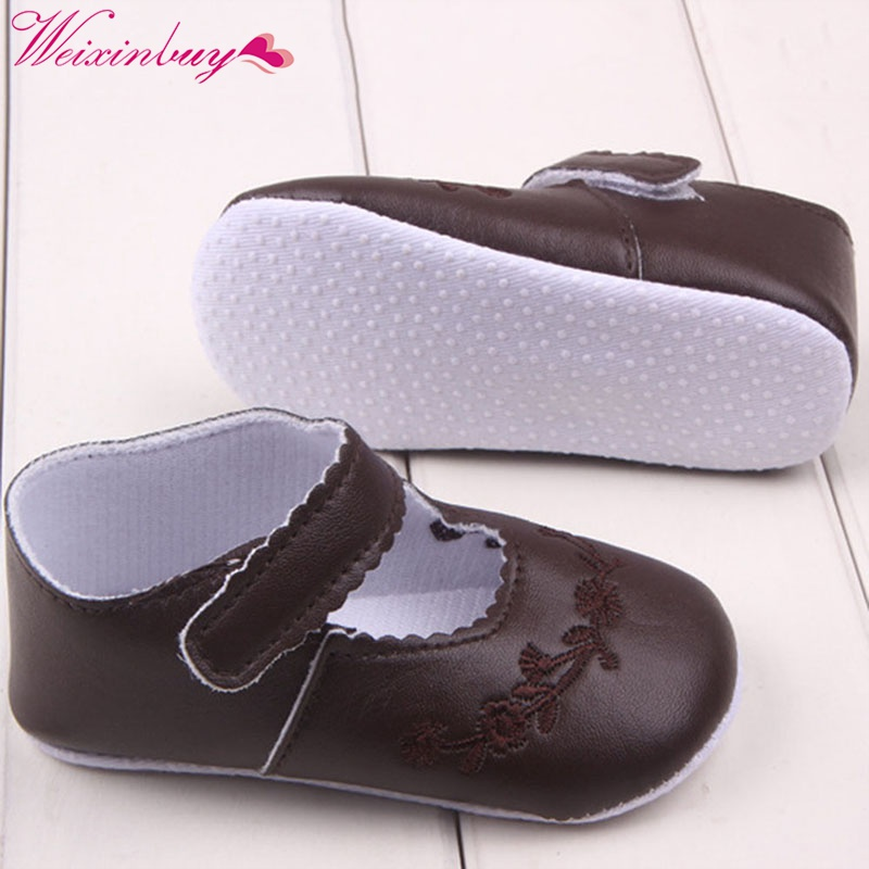 Shallow Baby Shoes Kid Girl Pu Leather  Firstwalker Newborn Comfy Prewalker 0-1 Years Black Pink White