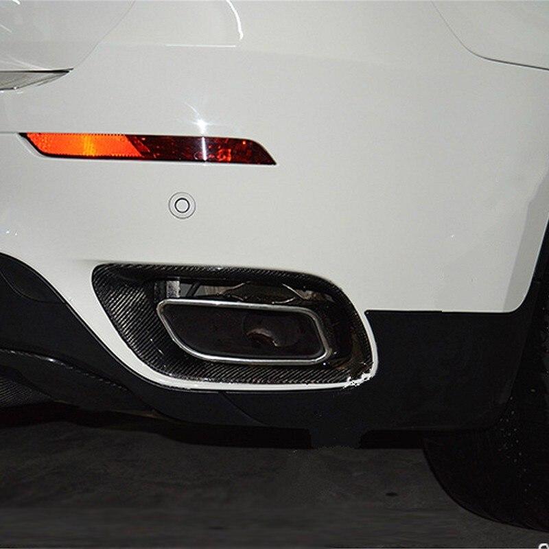 X6 E71 Carbon Fiber Rear Exhaust Muffler Decoration Sticker trim  for BMW X6 E71 2008-2013