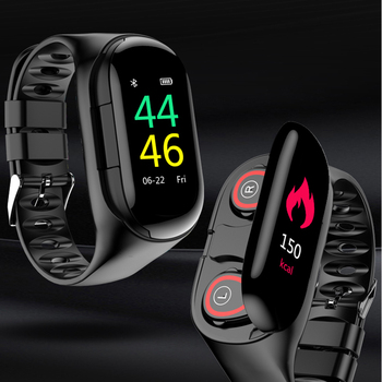 M1 5.0 Wireless Bluetooth Earphone Smart Watch With Heart Rate Monitor Stereo Earbud Headset Standby Sport Wristband Bracelet