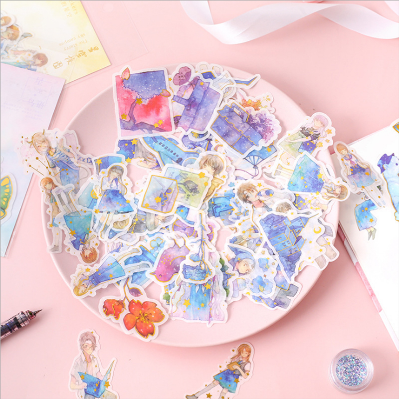 40 Pcs/bag Cute Cartoon Star Anime Mini Paper Sticker Package DIY Diary Decoration Sticker Album Scrapbooking
