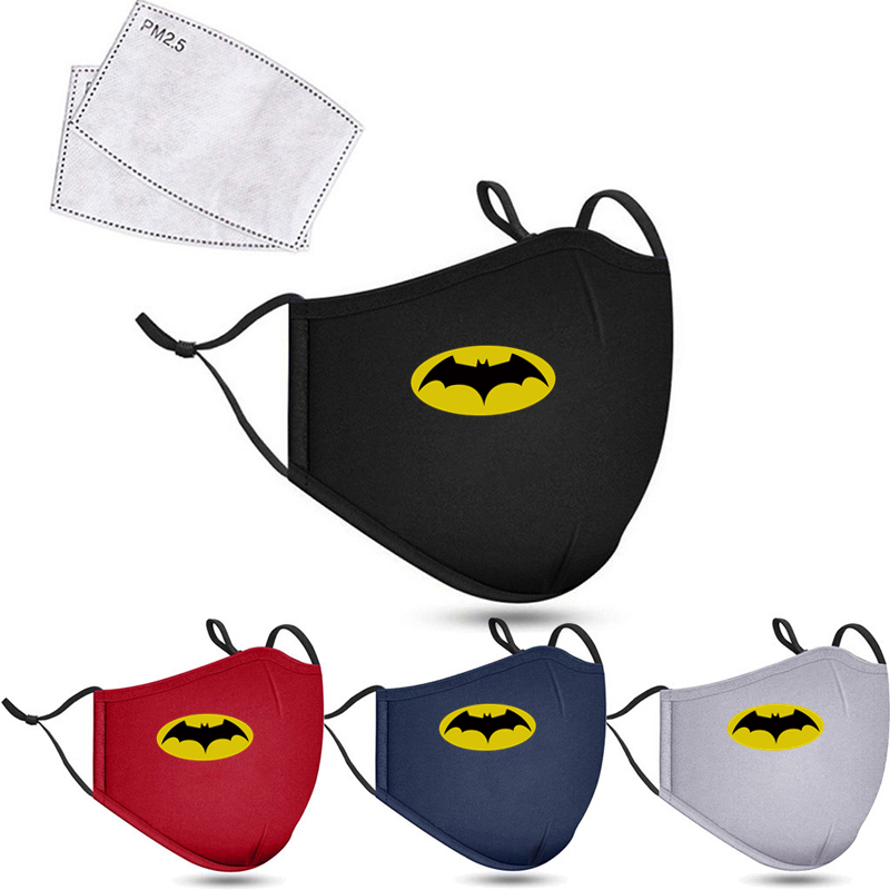 2020 BATMAN Cotton Face Mask Reusable Washable Breathable Cycling Running Anti Dust Windproof Air Purifying Face Mask +2 Filter