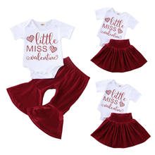 Toddler Kid Baby Girl Valentine Clothes Romper Top Flared Pants Skirt Outfits 0-24M(China)