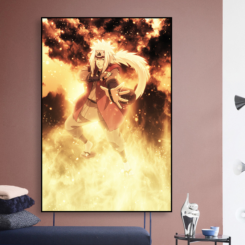 Printing Wall Art Canvas Modular Pictures Painting Japanese Anime Yellow Flame Naruto Poster Wallpaper Home Decoration