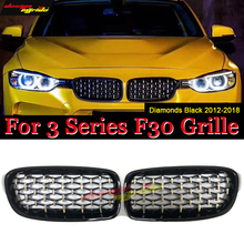 A Pair Front Bumper Diamond Grille Meteor Style ABS Black 3-Series F30 318i 320i 320d 325i 330i 340i Front Kidney Grille 2012-18 цена и фото