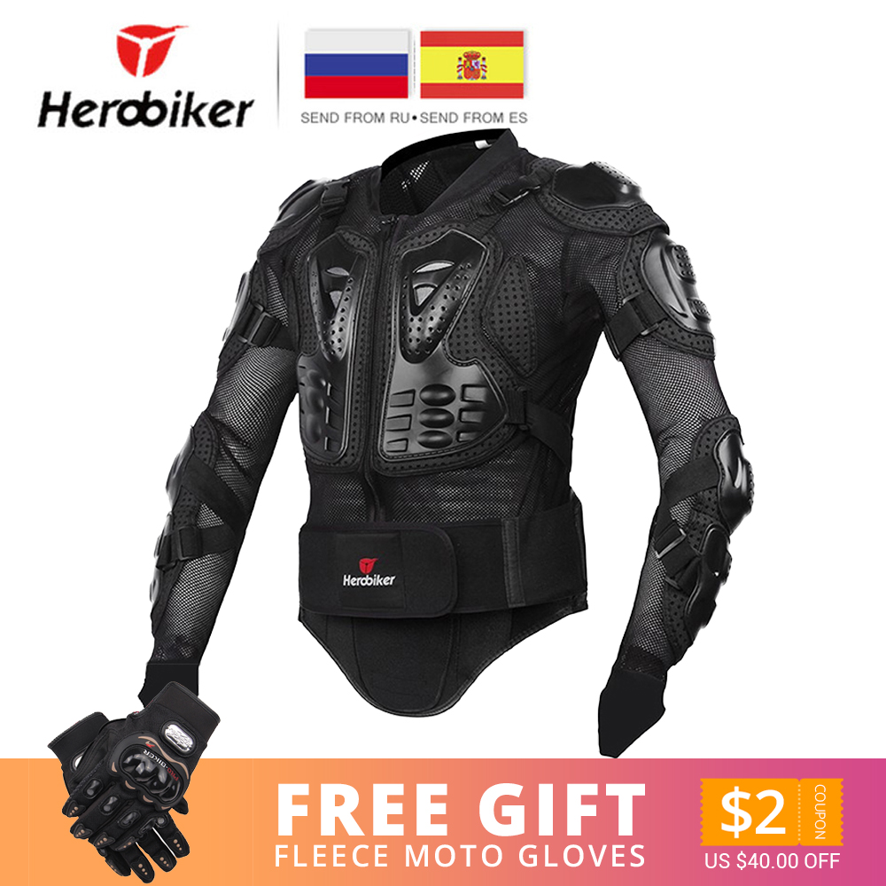 HEROBIKER Motorcycle Jacket Men Full Body Motorcycle Armor Motocross Racing Moto Jacket Riding Motorbike Protection Size S-5XL #
