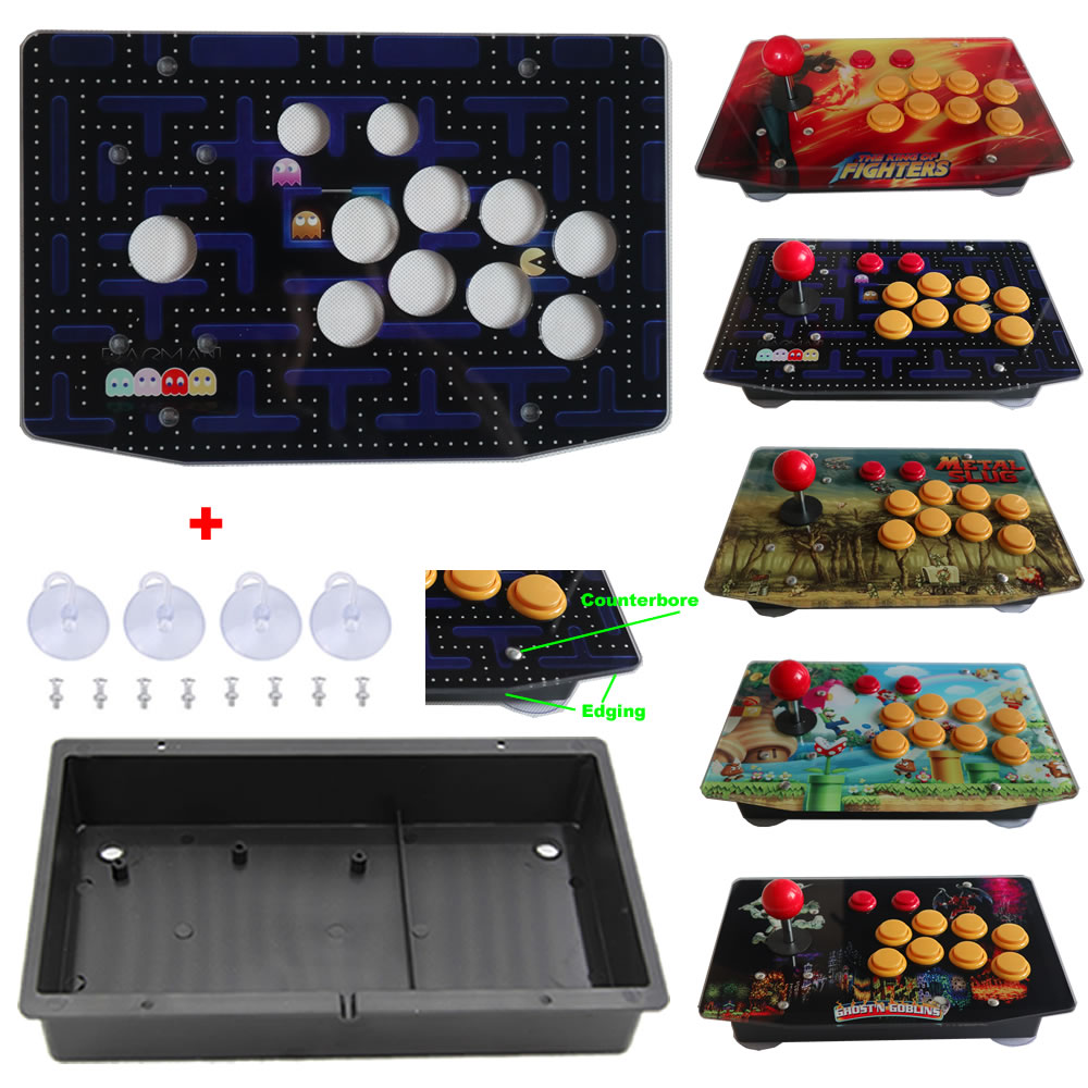 DIY Arcade Joystick Kits Parts Acrylic Artwork Panel 10 Buttons Flat Case Box(China)
