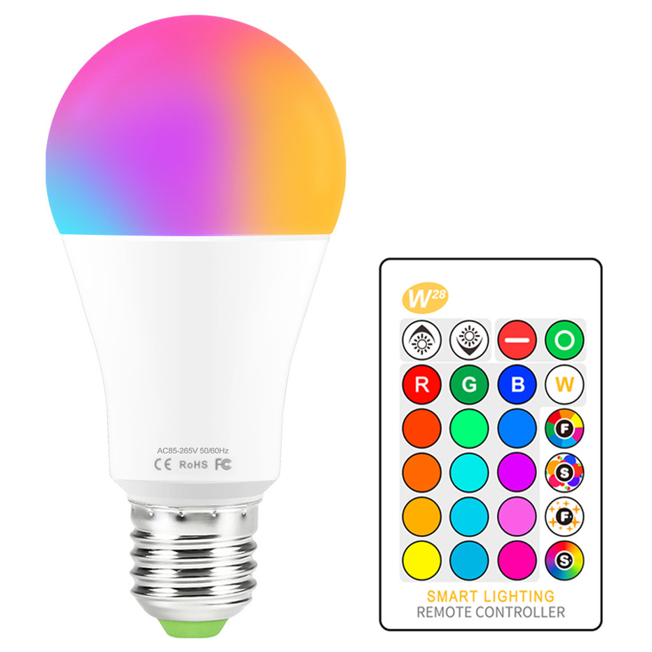LED Light Bulb RGB 16 Color Changing Magic Bulb 5W 10W 15W 110V 220V E27 RGB LED Bulb Lights IR Remote Control + Memory Mode