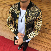 Men New 2021 Print Slim-Fitting Leopard Print Crew-Neck Casual Jacket Coat Male Cross-Border European And American Men's Autumn