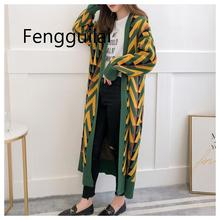 Women Long Sweater Cardigans 2019 Autumn Winter Jacket Geometric Knit Overcoat Coat Woman