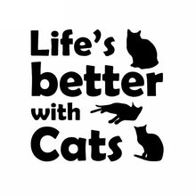 Life Is Better, Cats Have Fun Car Window Decals PVC Stickers Kitten Pet Decals Car Decoration Stickers Black/white, 15cm*15cm(China)