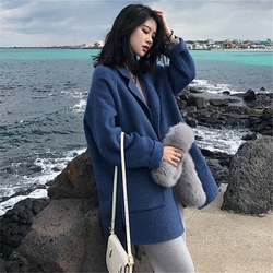 2020 inverno azul elegante mistura de lã mulheres casacos longos minimalista lã único breasted casaco camelo oversize outwear y36