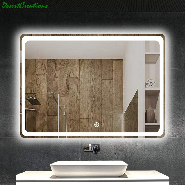 "32""x24""Bathroom Mirror With Led Lights Makeup Vanity Wall-Mounted Horizontally Rectangular Frameless Wall Mirror 2"