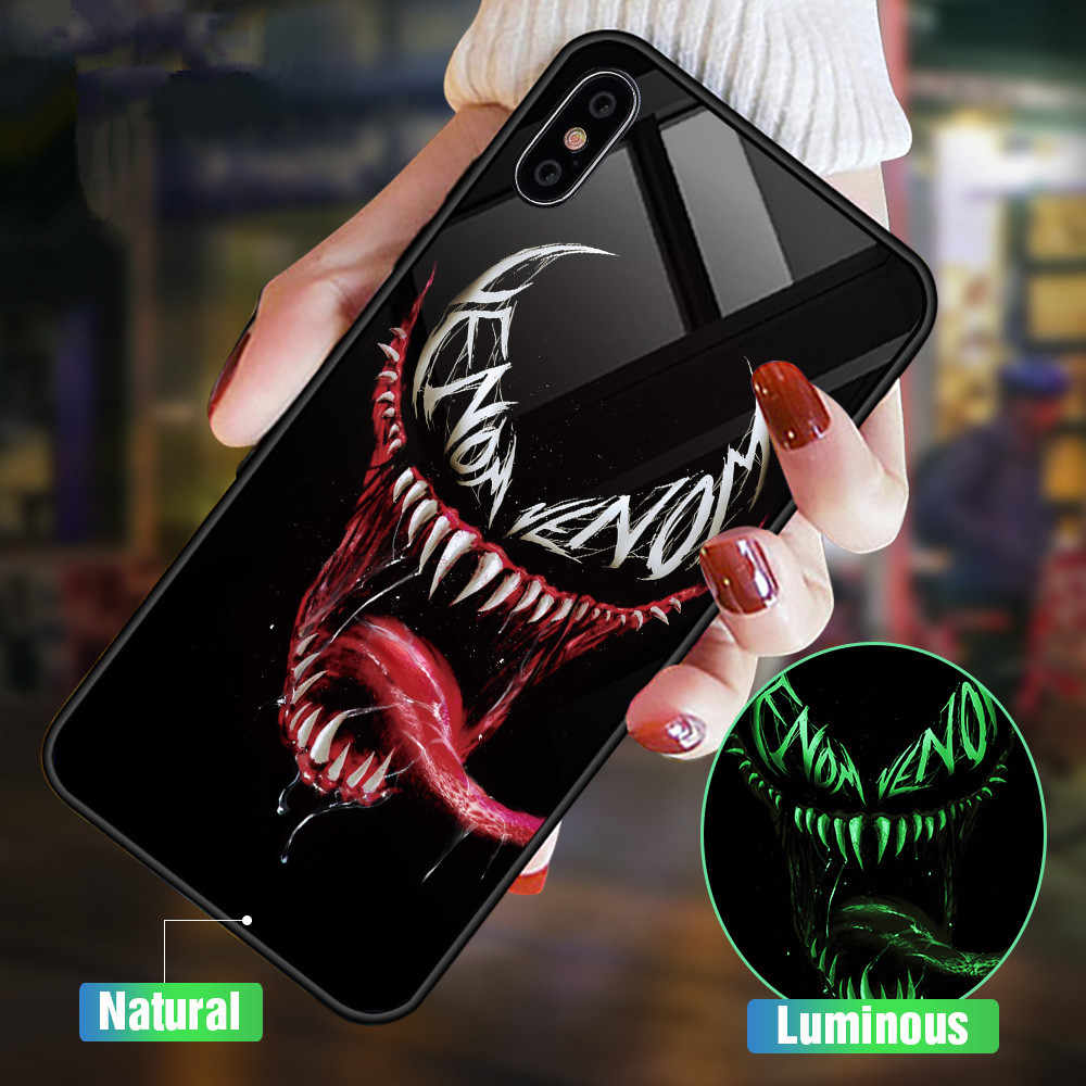 Luminous Marvel Glass Case For iphone X XS MAX XR Glow Cover For samsung s9 s10 Plus 5G Light Funda For huawei P30pro mate20pro