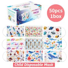 50 sztuk pudło dziecięcy nadruk kreskówkowy maska jednorazowa 3 warstwy dziecko dzieci filtr higiena zagęścić maska Earloop osłona na usta tanie tanio NONE CN (pochodzenie) Drop shipping