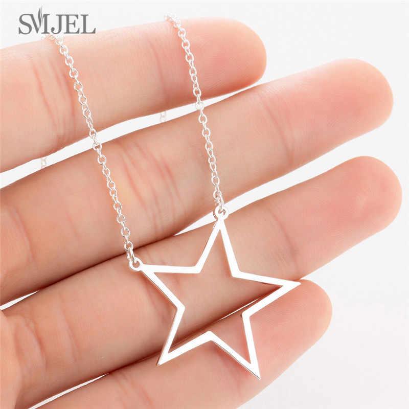 SMJEL Vintage collier géométrique pour femmes hommes en acier inoxydable unisexe cercle étoile rasage lame collier ras du cou bijoux cadeau