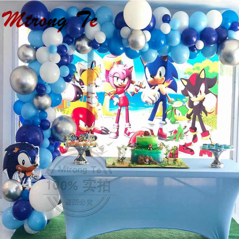 111 Stuks Sonic Ballonnen Super Hero Folie Ballon Jongen Meisje Gelukkig Brithday Thema Party Decoration Arch Garland Kit Latex Air globos