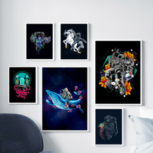 Cartoon Flower Horse Whale Jellyfish Astronaut Nordic Posters And Prints Wall Art Canvas Painting Wall Pictures Kids Room Decor